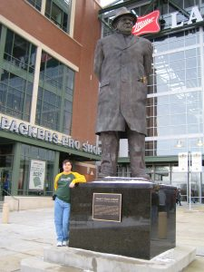 Scott and Vince Lombardi statue
