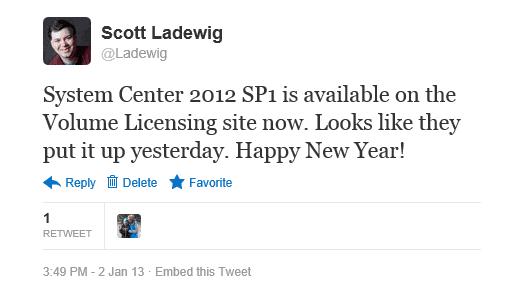 System Center 2012 SP1 Tweet