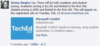 TechEd2013 Academic Announcement