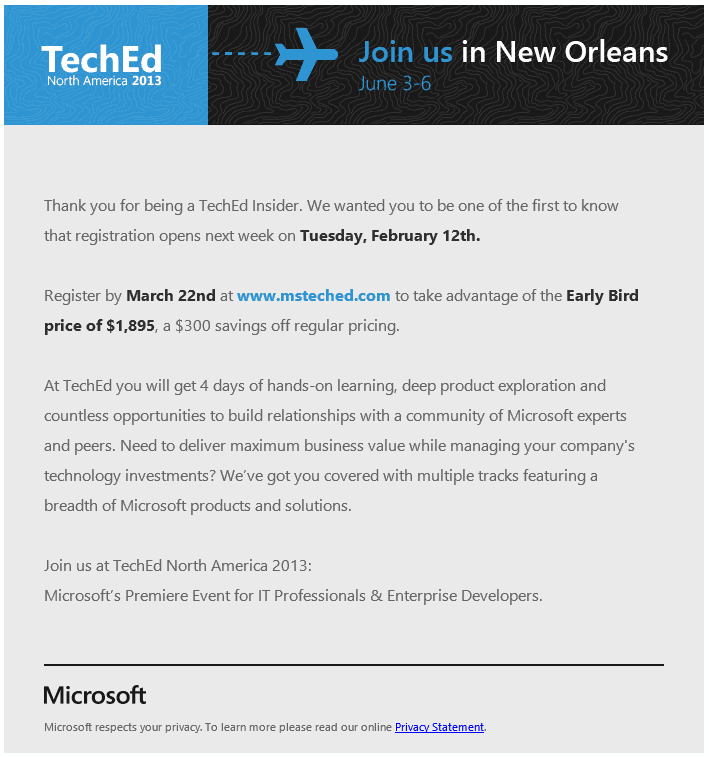 TechEd2013RegistrationEmail