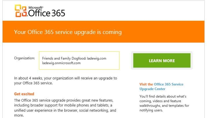 Office 365 Wave 15 Notice