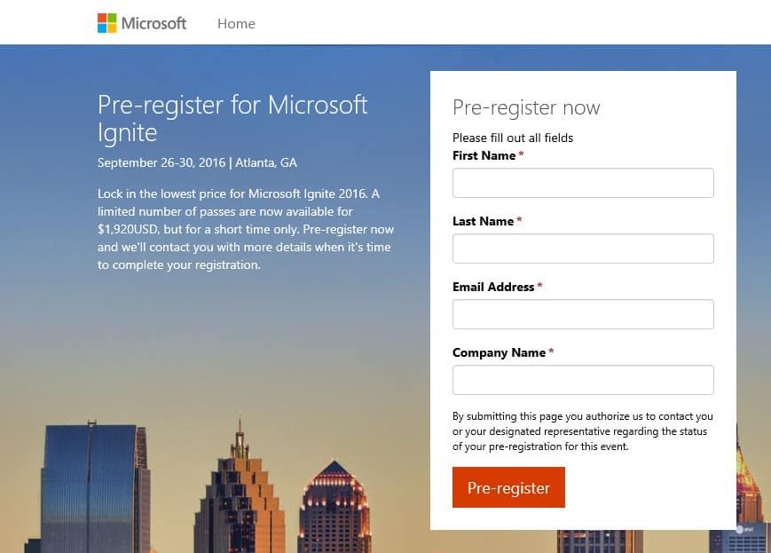 Microsoft Ignite 2016 Atlanta Pre-Registration