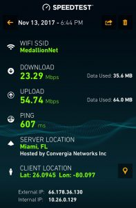 MedallionNet speed test