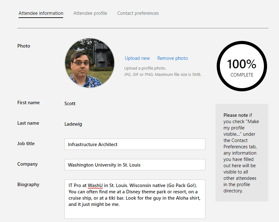 Screenshot showing my MyIgnite profile being edited
