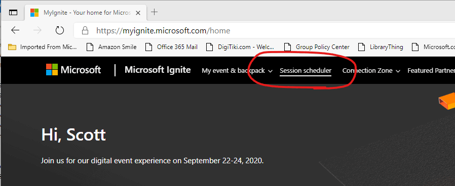 Screenshot of MyIgnite site with Session Scheduler link circled