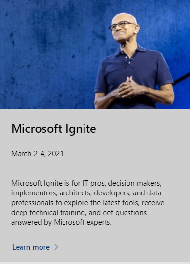 Microsoft Event page showing dates for Ignite as March 2-4, 2021