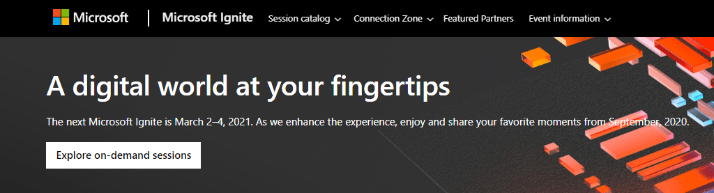 Microsoft Ignite site showing dates as March 2-4, 2021